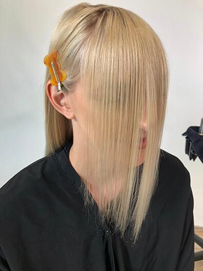 Bangs before being cut