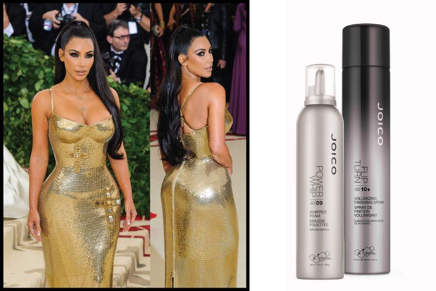 Kim Kardashian Slicked Back Pony using Power Whip and Flip Turn