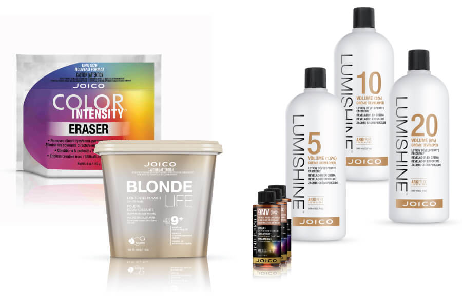 Lumishine developer and color bottles, Blonde Life lightener tub, and Color Intensity Eraser bag