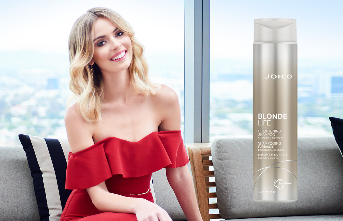 Blonde Life shampoo product and model