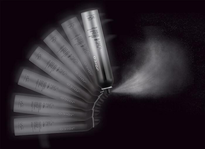 flip turn hairspray spraying