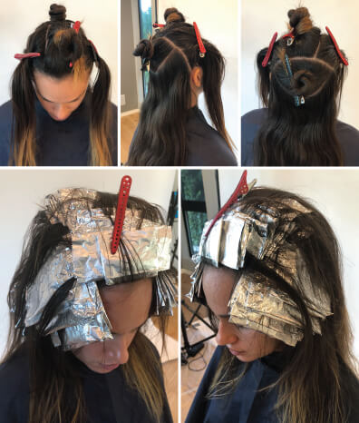 Clients hair being colored with foils before and during