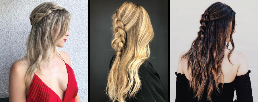 Models with braids in hair