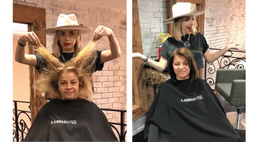 Larisa Love grey hair challenge client before and after