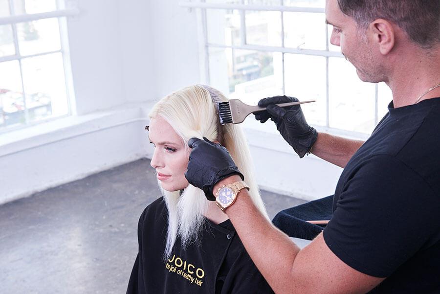 Platinum Pearl blonde hair color technique step 10