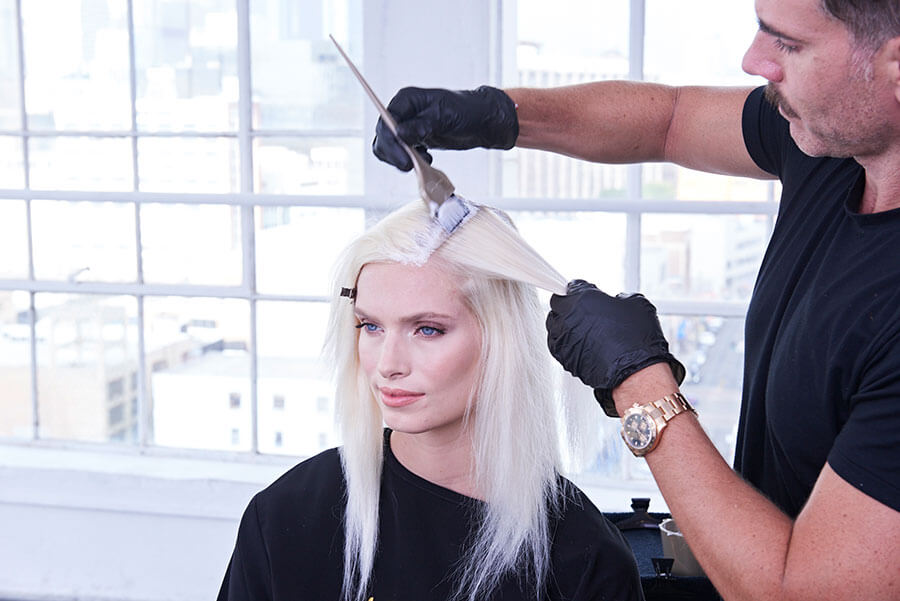 Platinum Pearl blonde hair color technique step 11