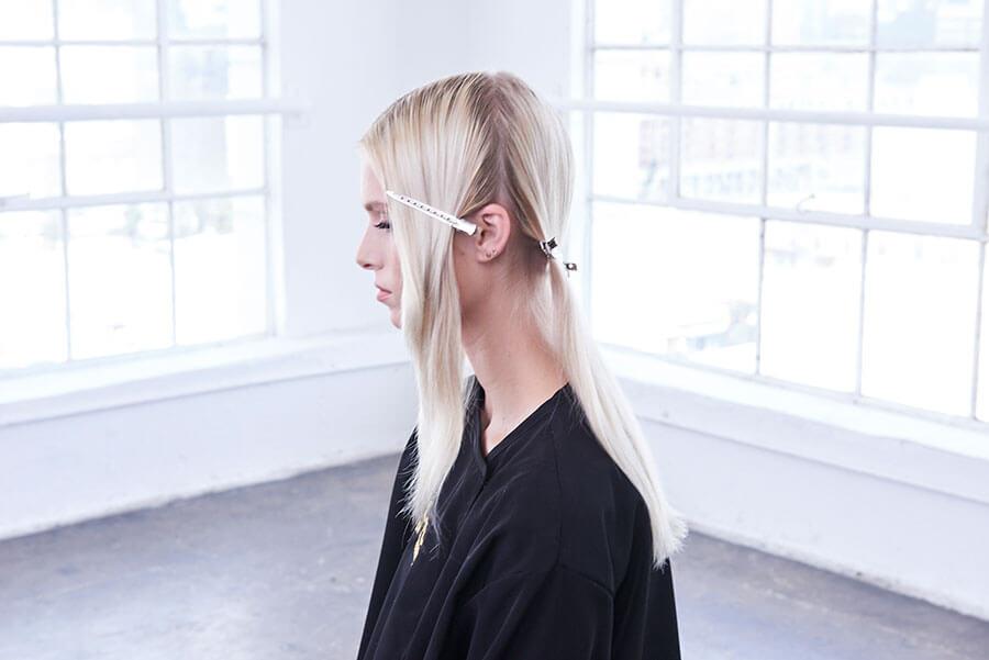 Platinum Pearl blonde hair color technique step 2