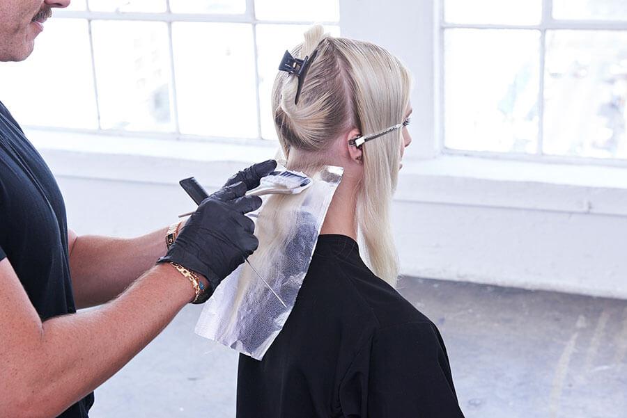 Platinum Pearl blonde hair color technique step 3