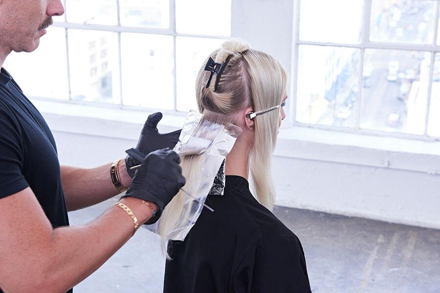 Platinum Pearl blonde hair color technique step 4