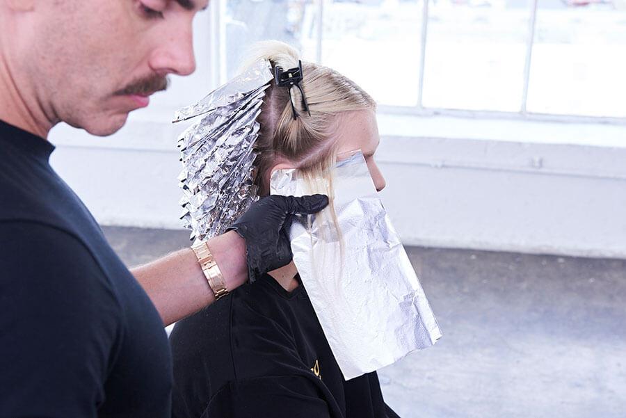 Platinum Pearl blonde hair color technique step 5