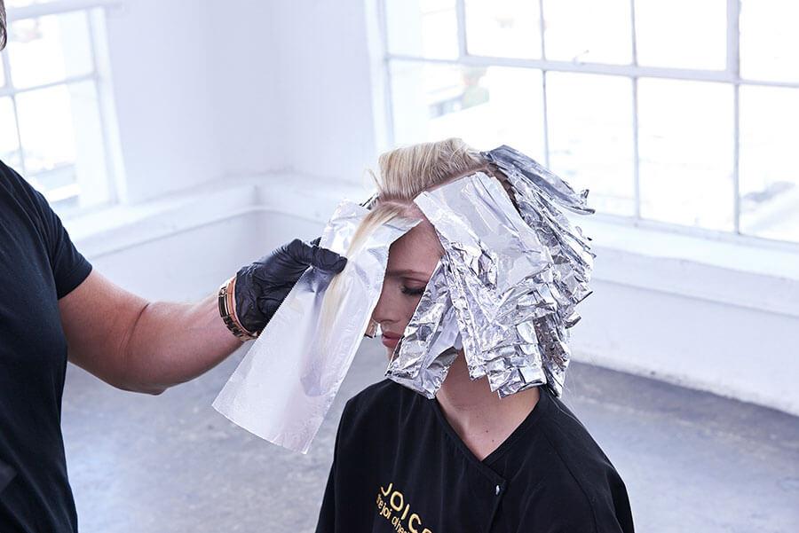 Platinum Pearl blonde hair color technique step 7