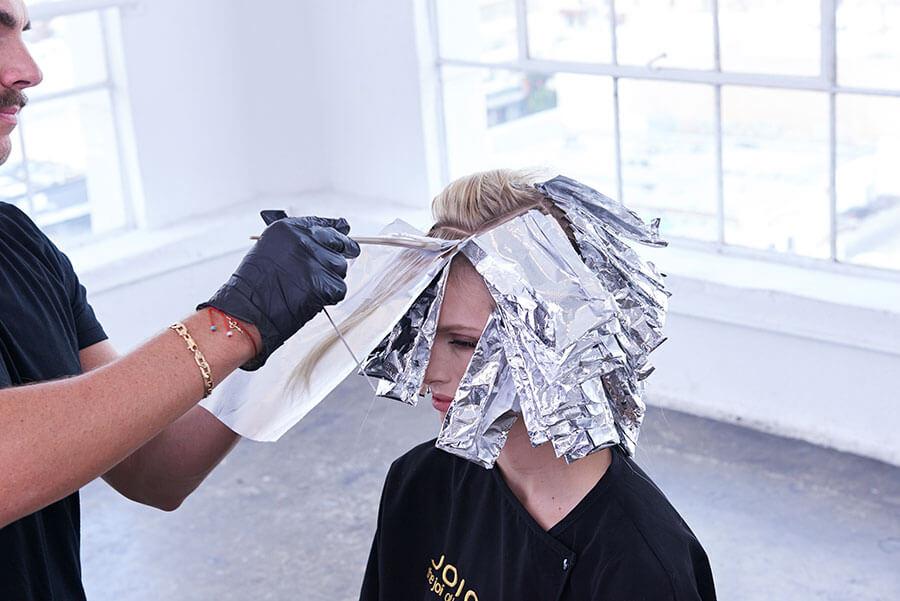 Platinum Pearl blonde hair color technique step 8
