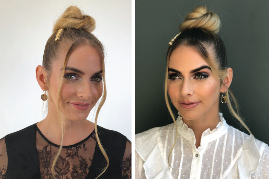 Models Hair Styled in Bun