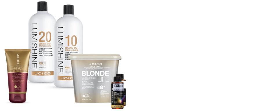 LumiShine developer & color, Blonde Life lightener, and Luster Lock masque bottles