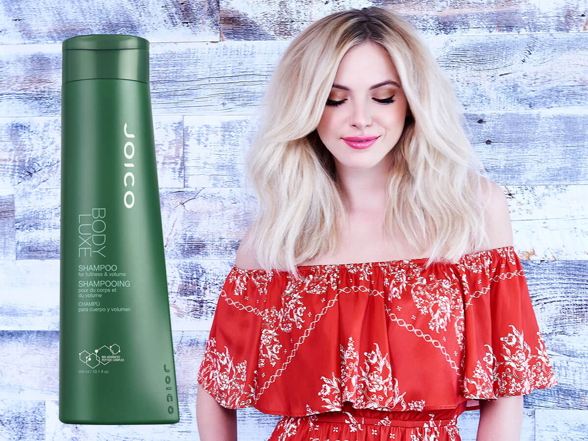 Body Luxe Shampoo model and product