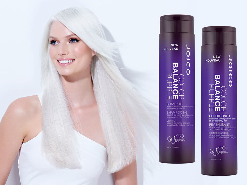 Color Balance purple shampoo and conditioner with model