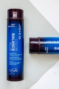 Color balance blue shampoo bottle