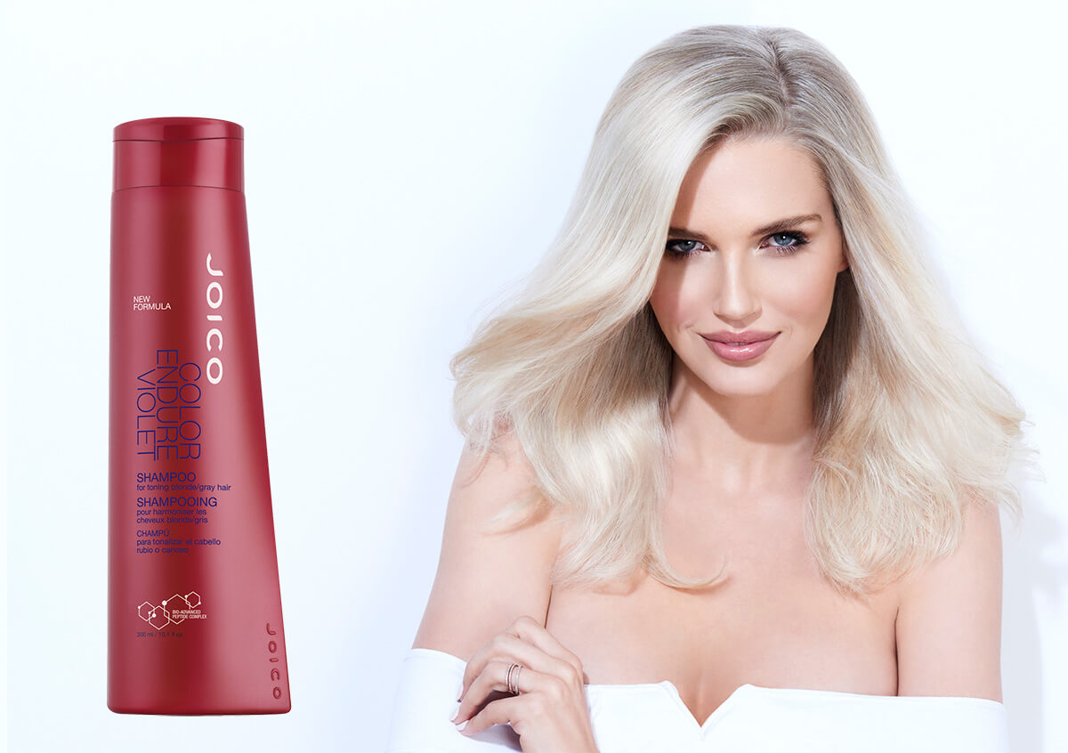 Color Endure Violet Shampoo Model and Product