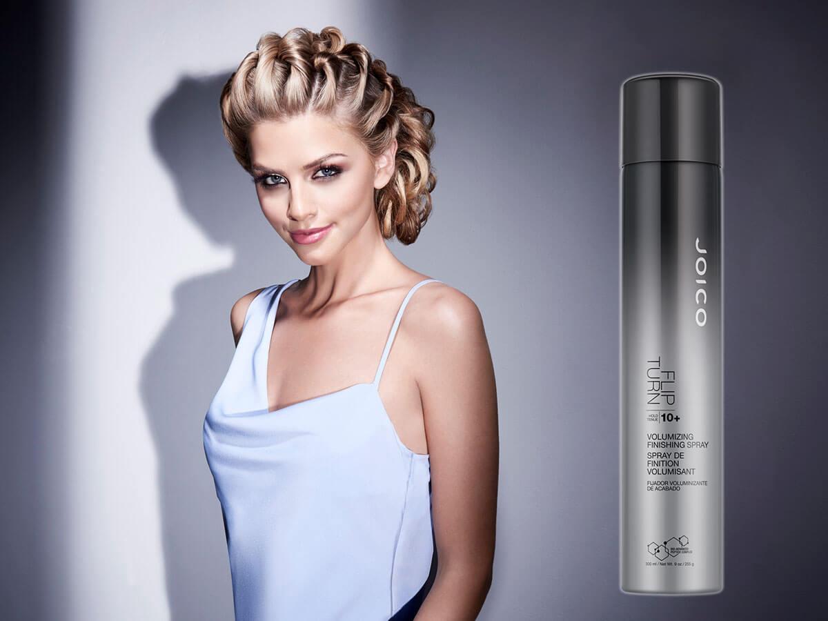 Flip Turn hairspray and model