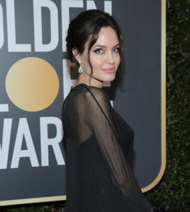 Angelina Jolie Brunette Hair Updo at Golden Globes