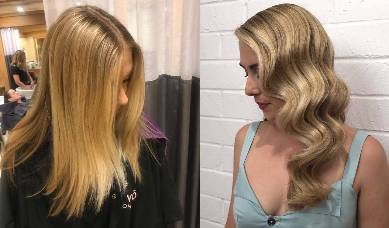 Blonde hair color model before and after