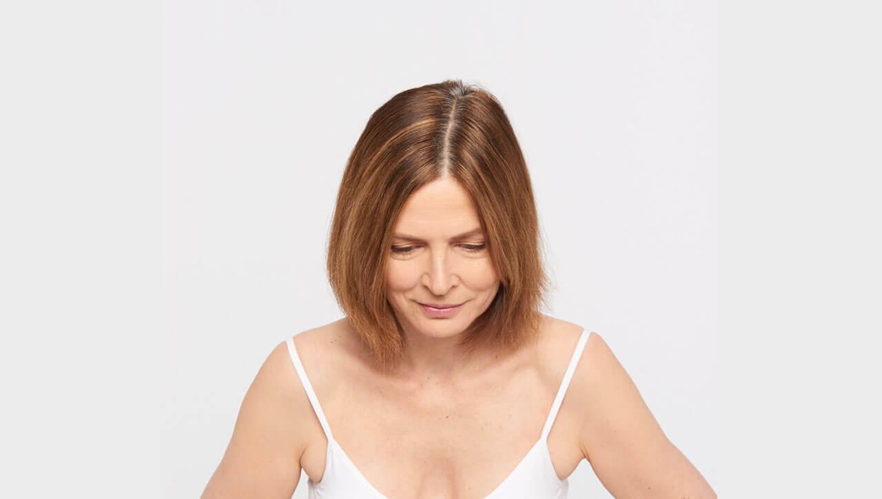 Ageless brunette hair color technique model before