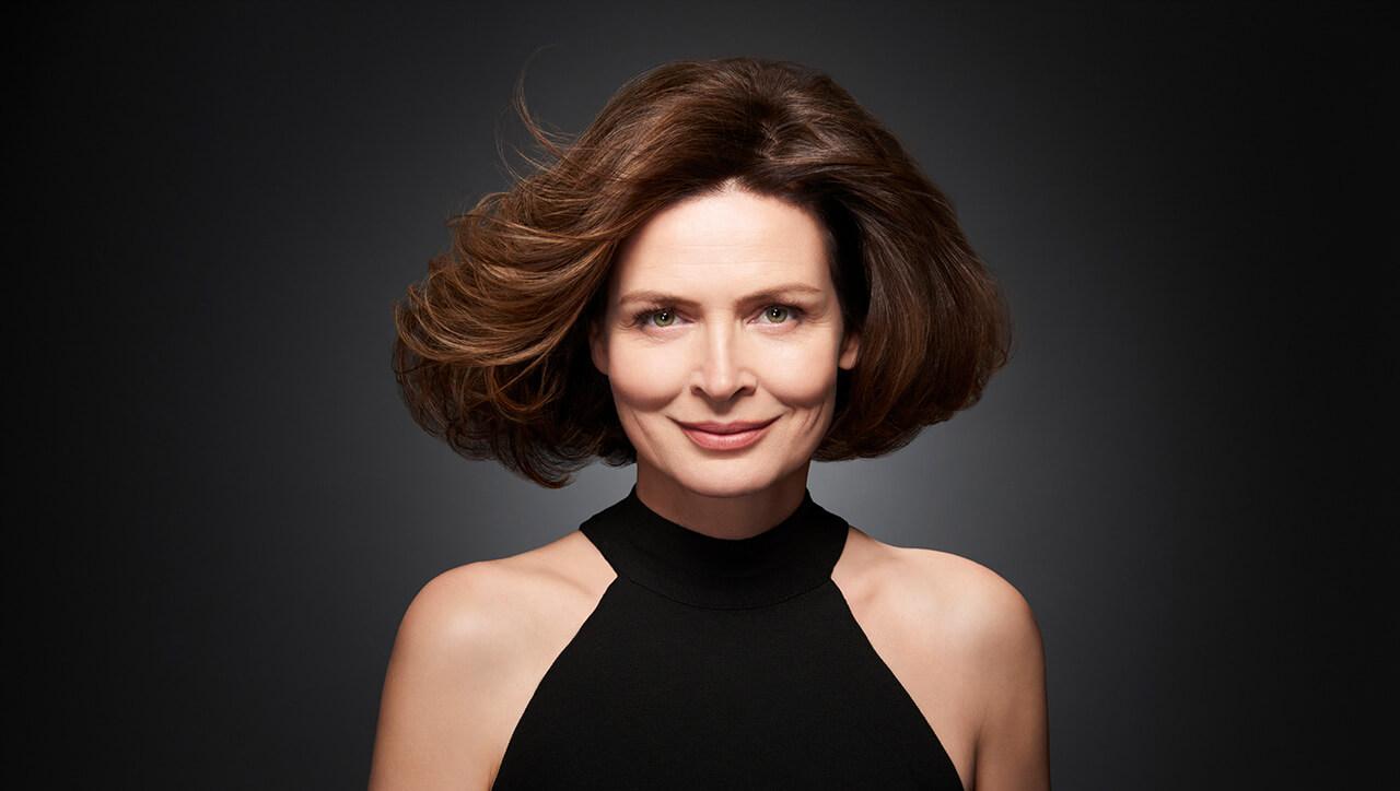 Ageless brunette hair color technique model after