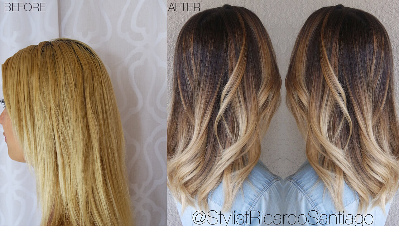 Bronde Color melt technique before and after