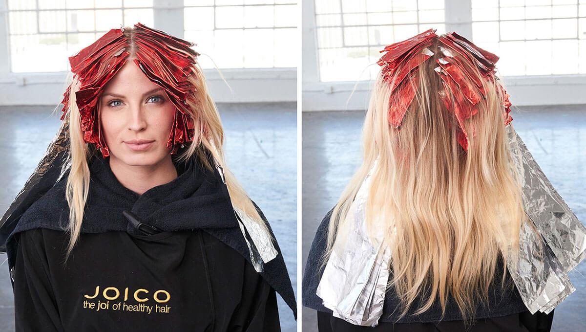 Caramel Contour hair color technique foiling