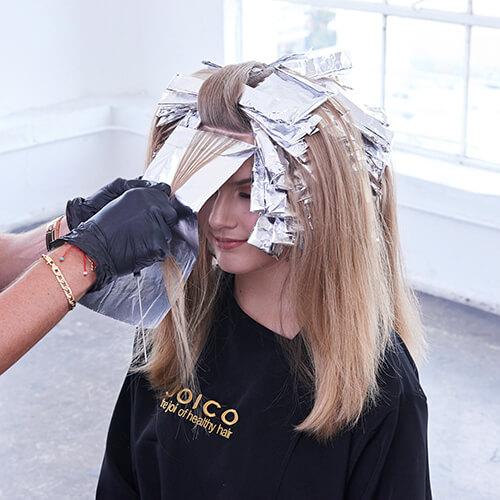 Cream and sugar hair color technique step 11