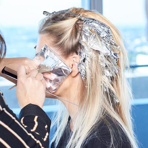 Cream blonde hair color technique step 16