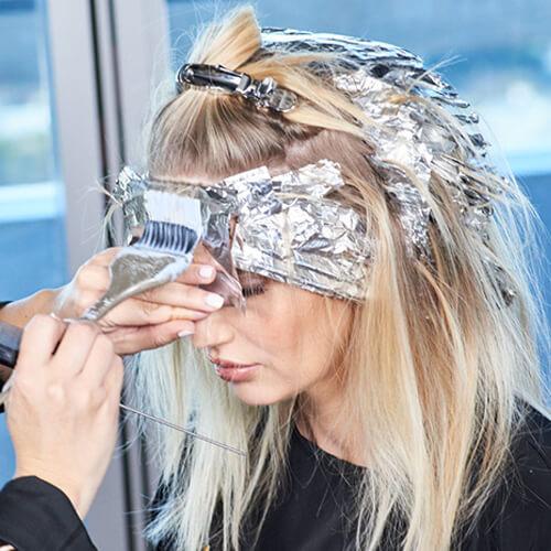 Cream blonde hair color technique step 18