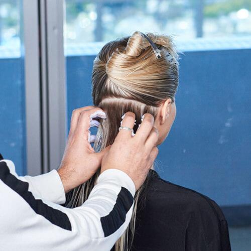 Cream blonde hair color technique step 24