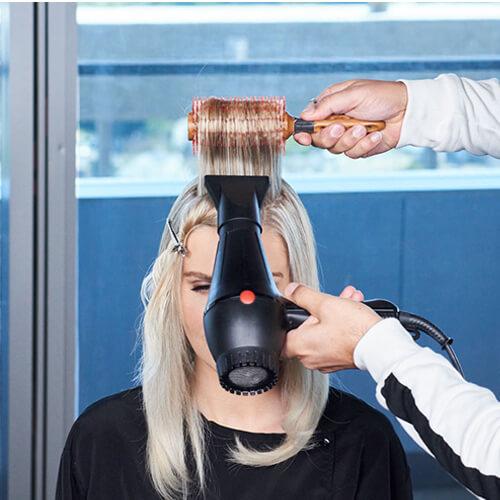 Cream blonde hair color technique step 25