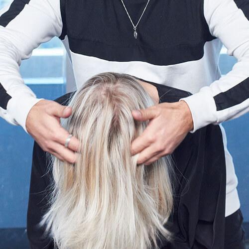 Cream blonde hair color technique step 28