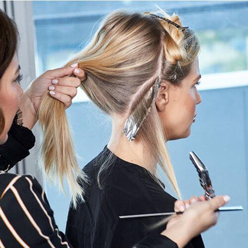Cream blonde hair color technique step 5