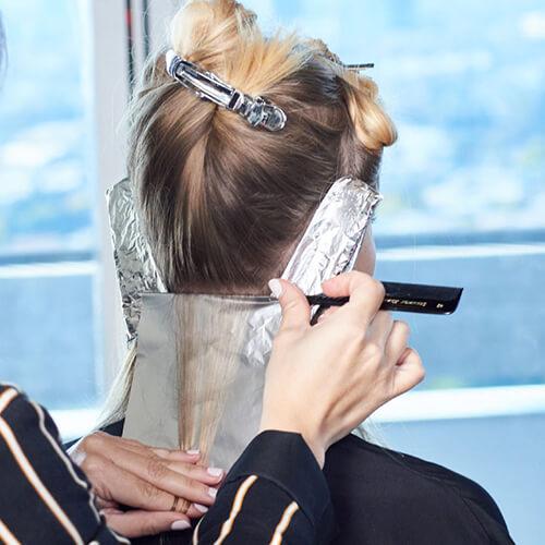 Cream blonde hair color technique step 7