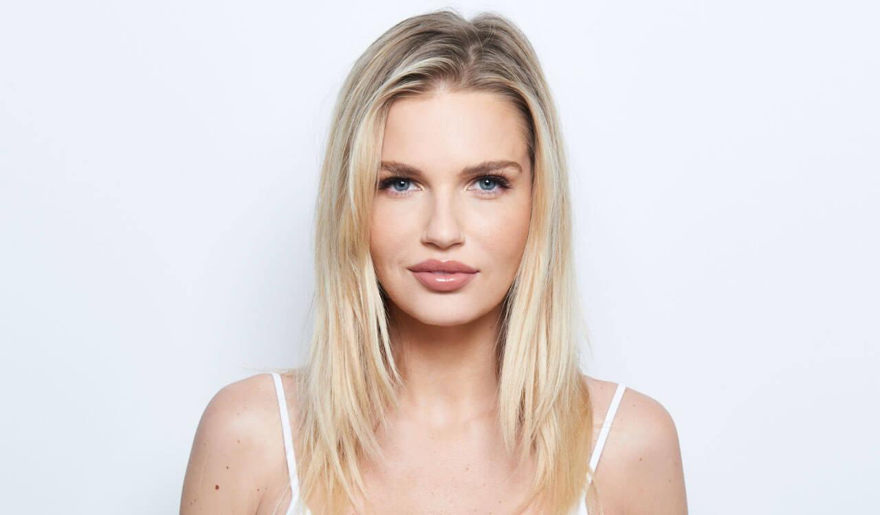 Cream blonde hair color technique model before