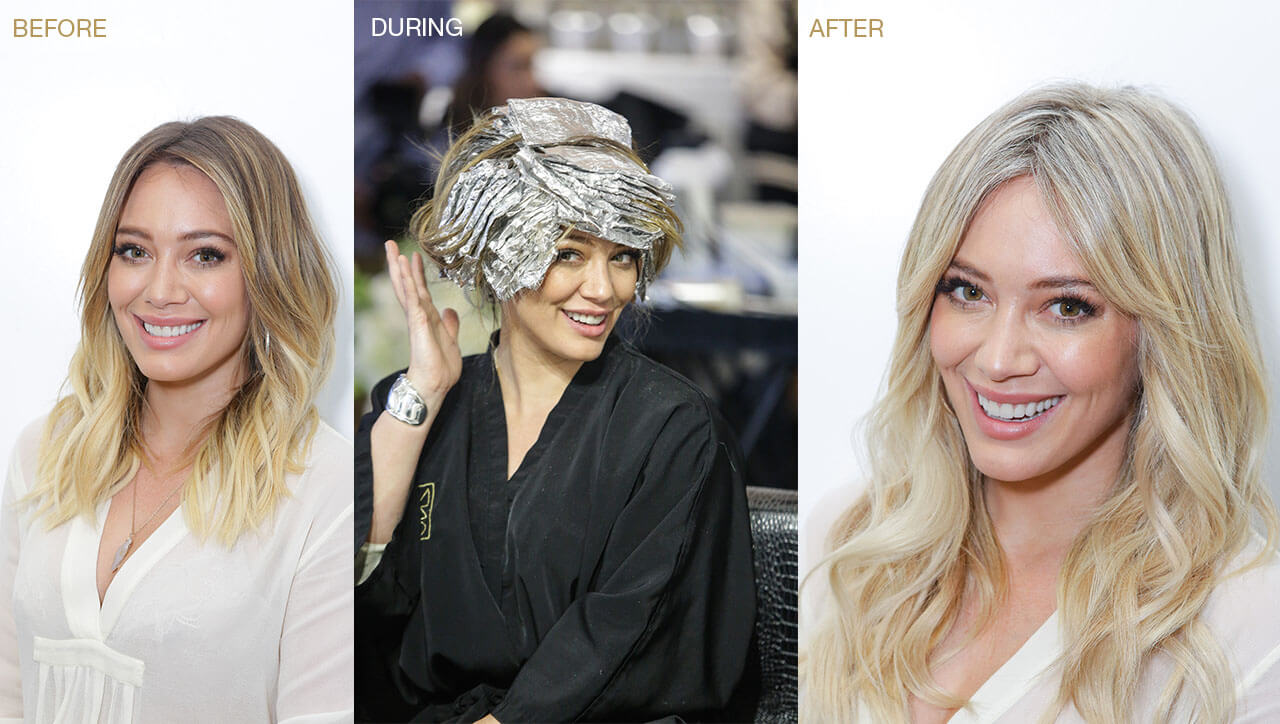 Hillary Duff hair color before during and after