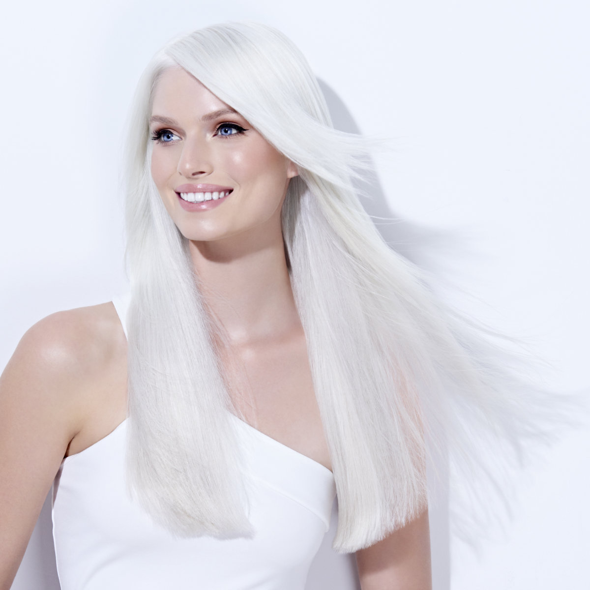 Platinum Pearl hair color technique model after