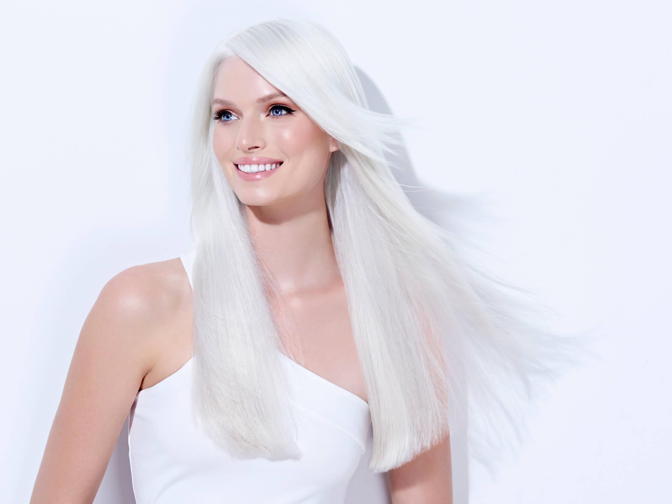 Platinum Pearl hair color technique model after