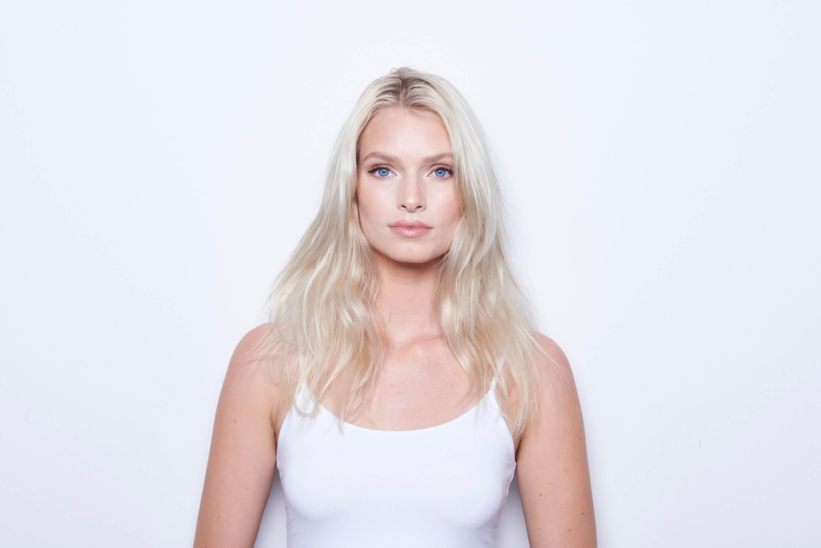 Platinum Pearl hair color technique model before