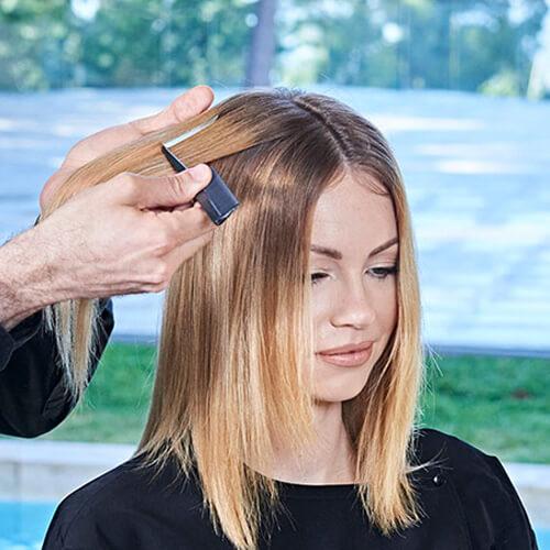 Ribbon-Lights hair color technique step 1