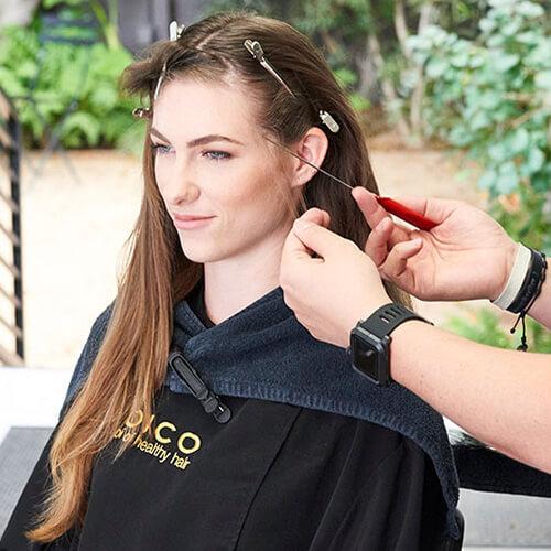 Silver blue siren hair color technique step 2