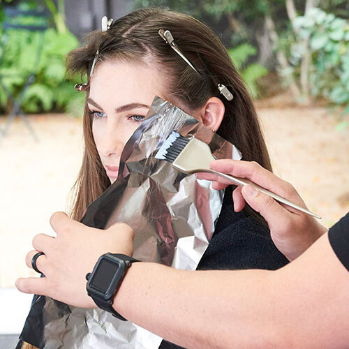 Silver blue siren hair color technique step 3