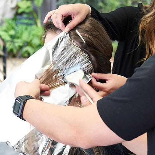 Silver blue siren hair color technique step 13