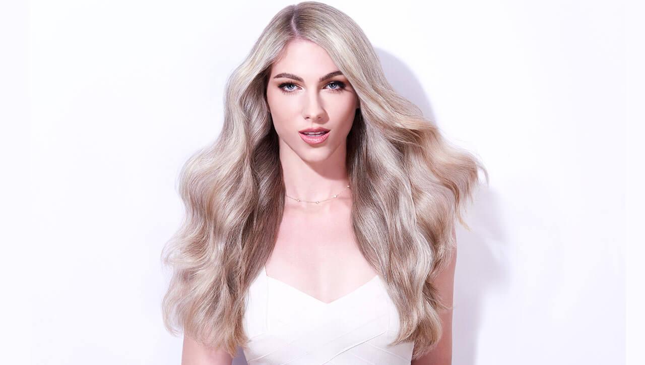 Silver blue siren hair color technique model after
