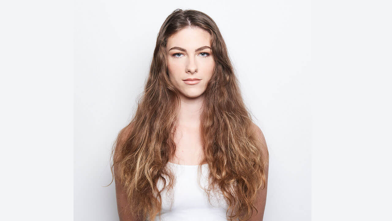 Silver blue siren hair color technique model before