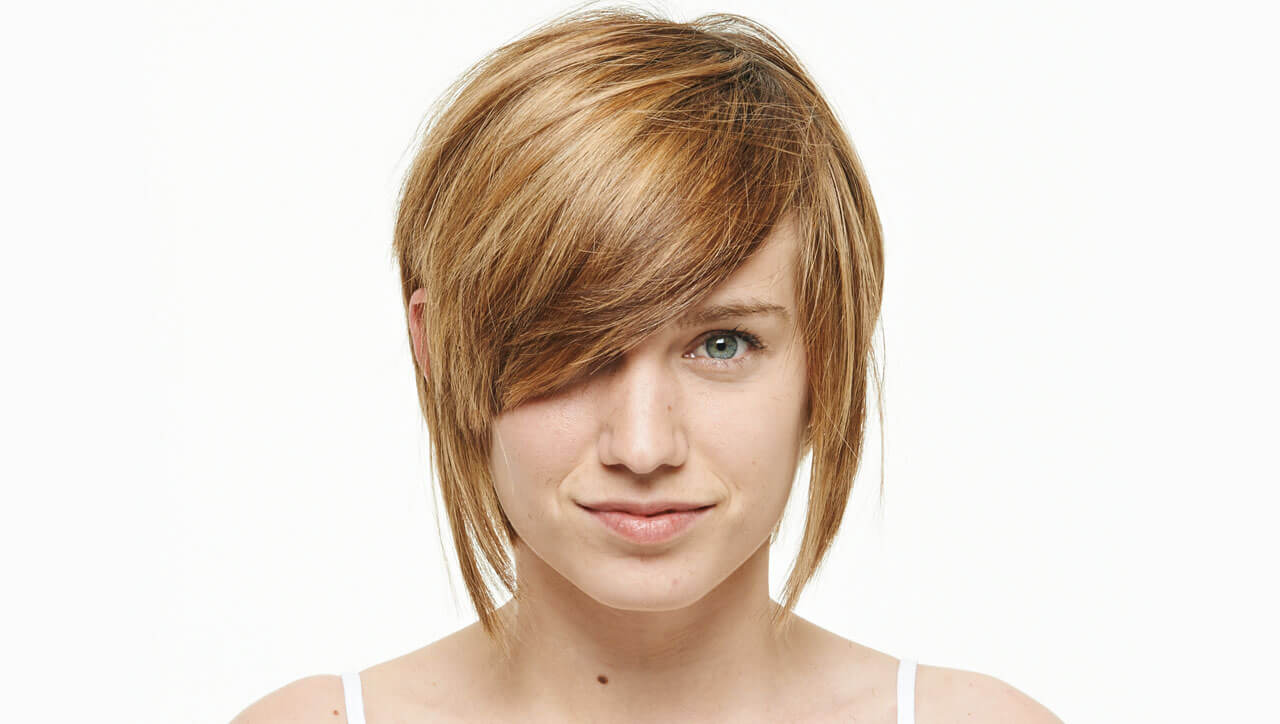 Sultry blonde hair color technique model before