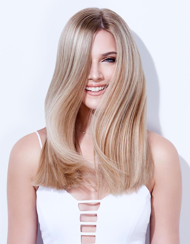 blonde life creme color on model